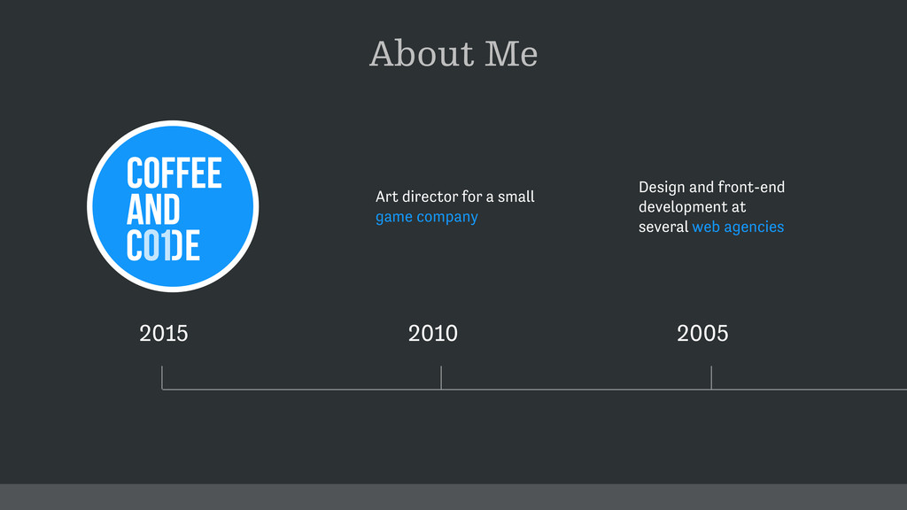 About Me 2015 2010 2005 Design and front-end de...