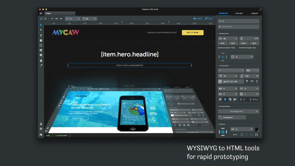 WYSIWYG to HTML tools  for rapid prototyping