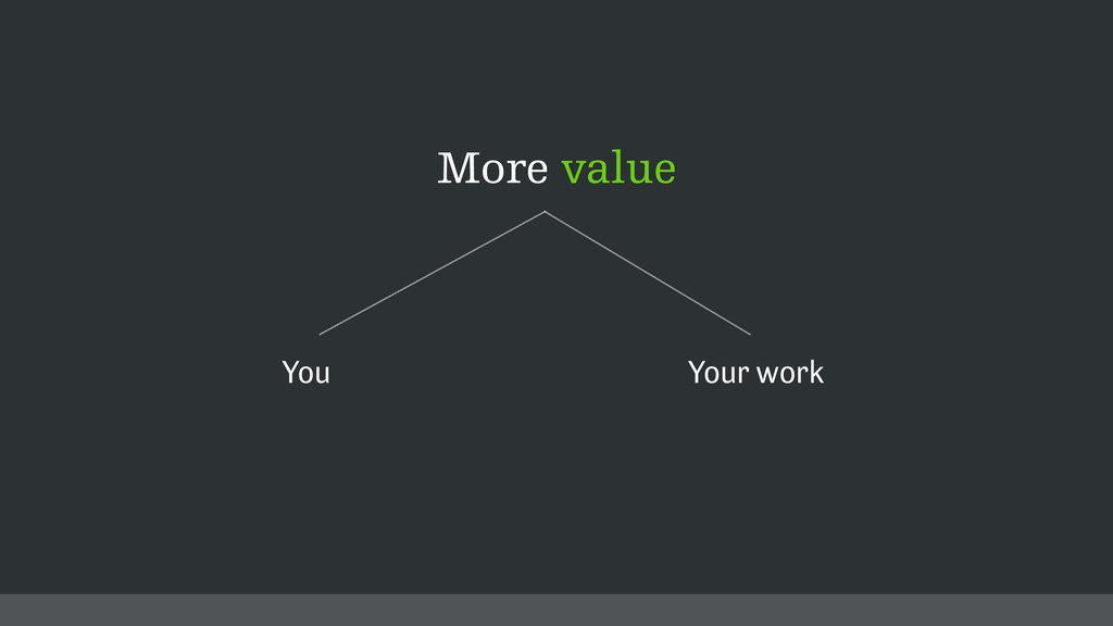More value You Your work