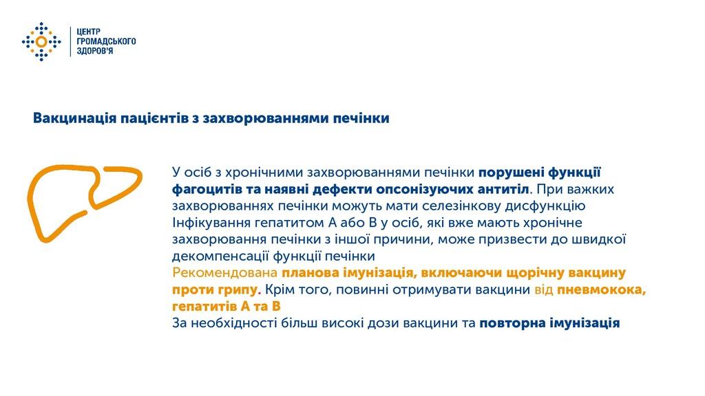 Вакцинація пацієнтів з захворюваннями печінки У...