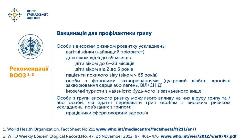 Вакцинація для профілактики грипу Особи з висок...