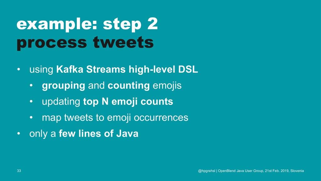 example: step 2 process tweets • using Kafka St...