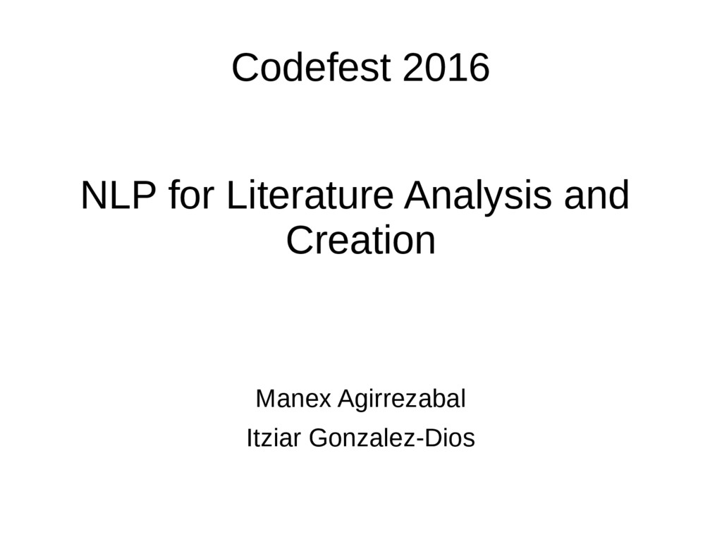 Codefest 2016 NLP for Literature Analysis and C...