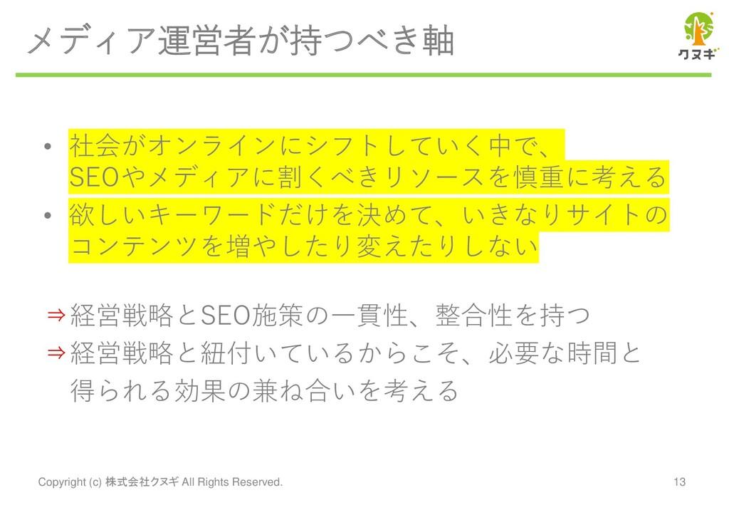 メディア運営者が持つべき軸 • 社会がオンラインにシフトしていく中で、 SEOやメディアに割く...