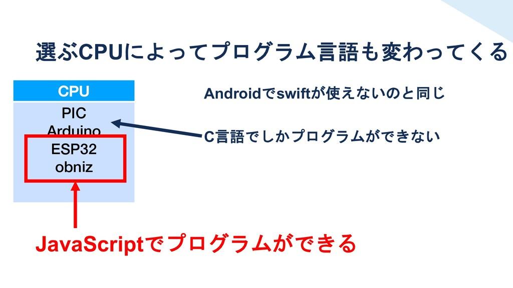 CPU PIC Arduino ESP32 obniz 選ぶCPUによってプログラム言語も変わ...