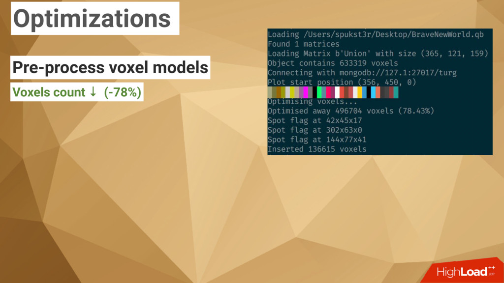 Optimizations Pre-process voxel models Voxels c...