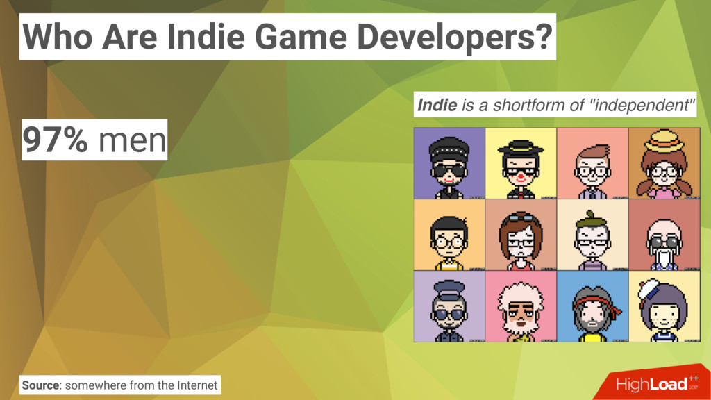 Who Are Indie Game Developers? 97% men Source: ...