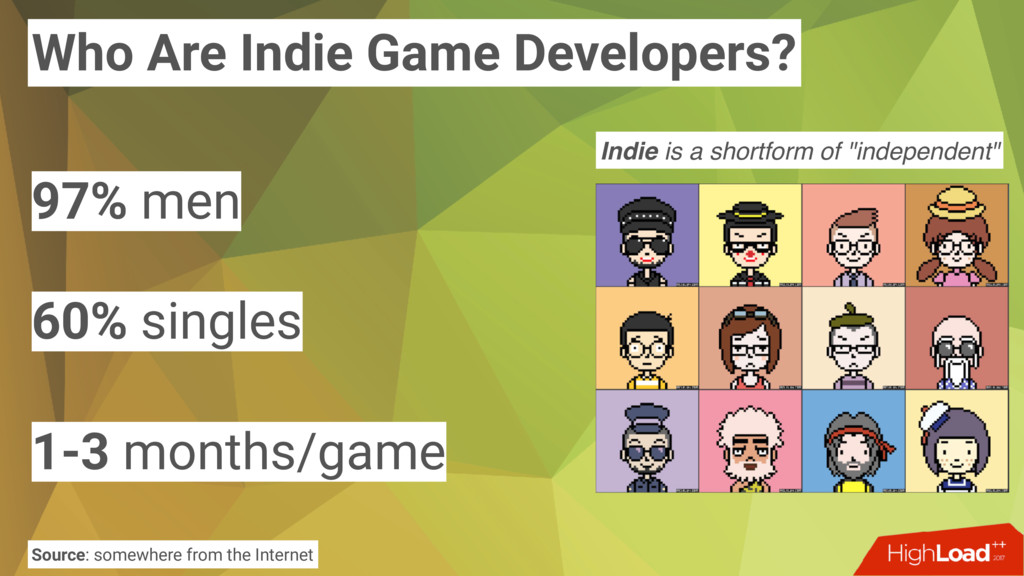 Who Are Indie Game Developers? 97% men 60% sing...