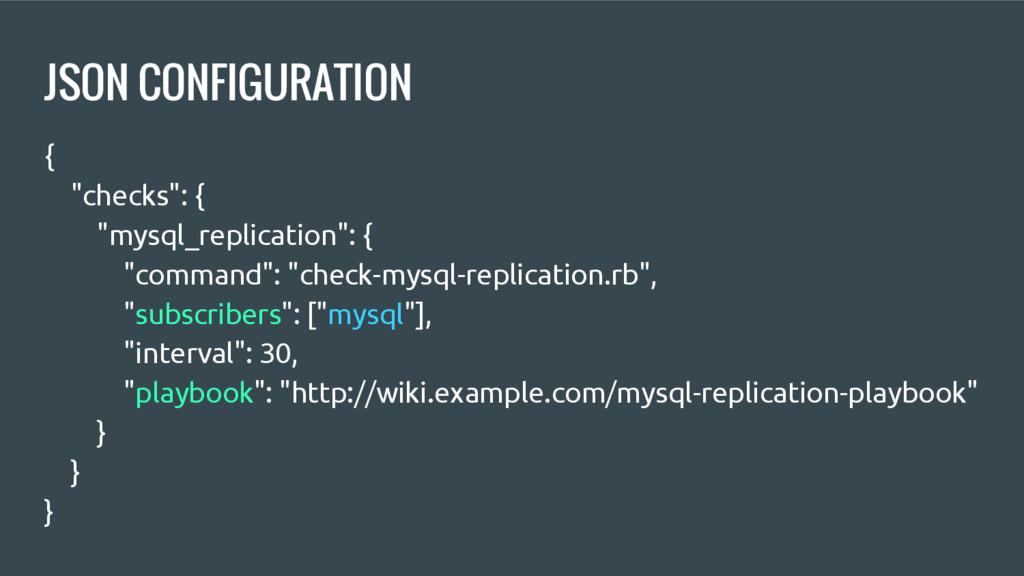"""JSON CONFIGURATION { """"checks"""": { """"mysql_replica..."""
