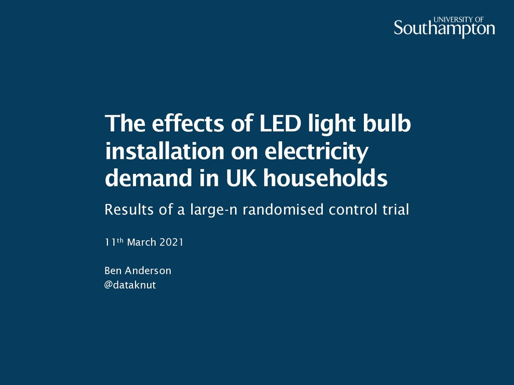 The effects of LED light bulb installation on e...