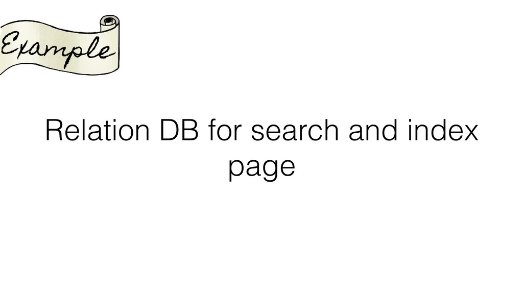 Relation DB for search and index page