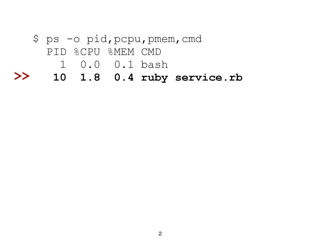 2 $ ps -o pid,pcpu,pmem,cmd PID %CPU %MEM CMD 1...