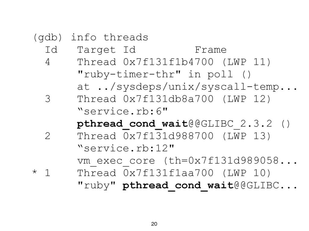 20 (gdb) info threads Id Target Id Frame 4 Thre...