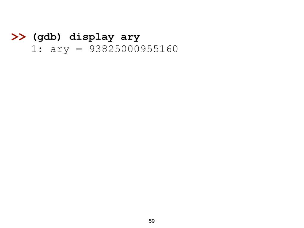 59 (gdb) display ary 1: ary = 93825000955160 >>