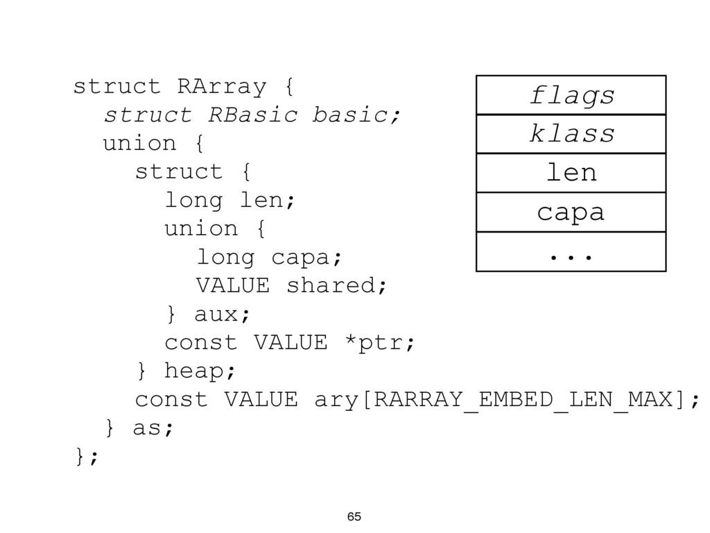 struct RArray { struct RBasic basic; union { st...
