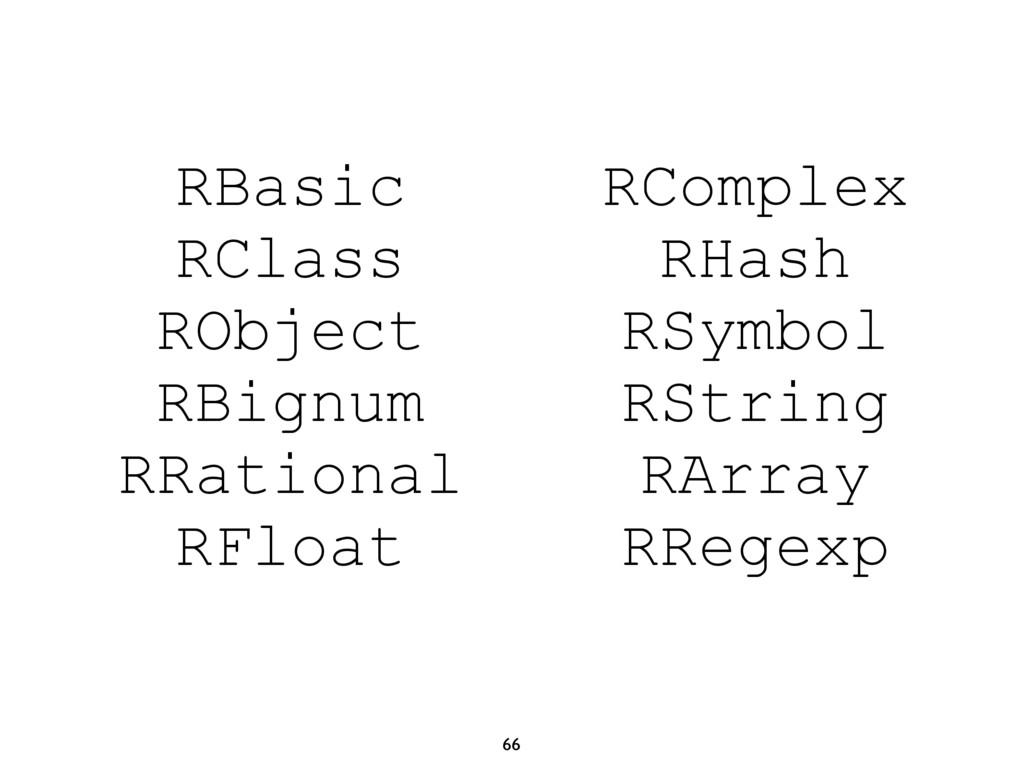 66 RBasic RClass RObject RBignum RRational RFlo...