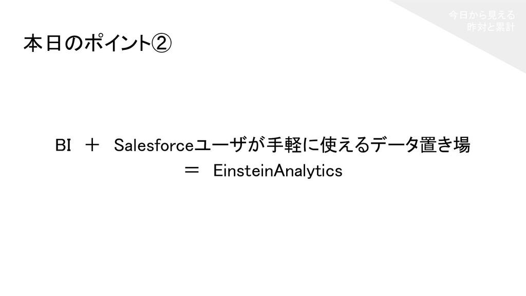 今日から見える 昨対と累計 BI + Salesforceユーザが手軽に使えるデータ置き場...