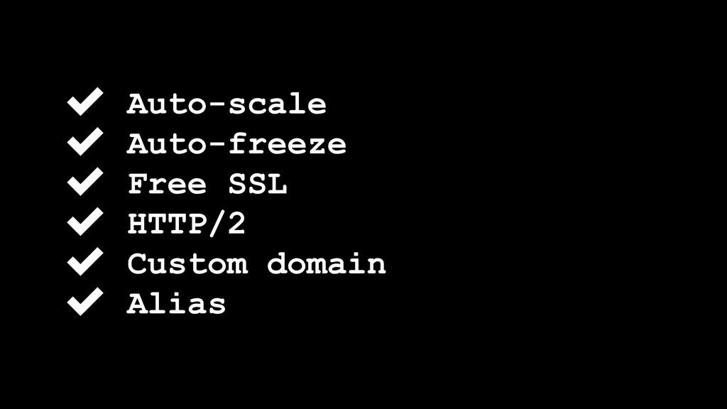 ✔ Auto-scale ✔ Auto-freeze ✔ Free SSL ✔ HTTP/2 ...