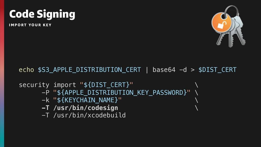 Code Signing echo $S3_APPLE_DISTRIBUTION_CERT  ...