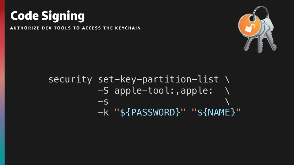 Code Signing security set-key-partition-list \ ...