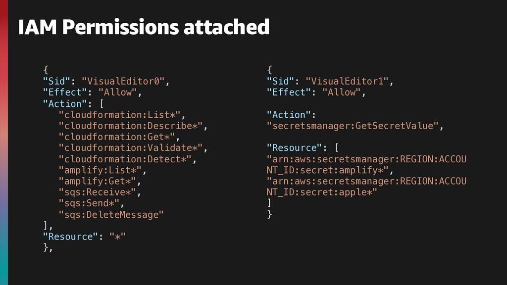"IAM Permissions attached { ""Sid"": ""VisualEditor..."