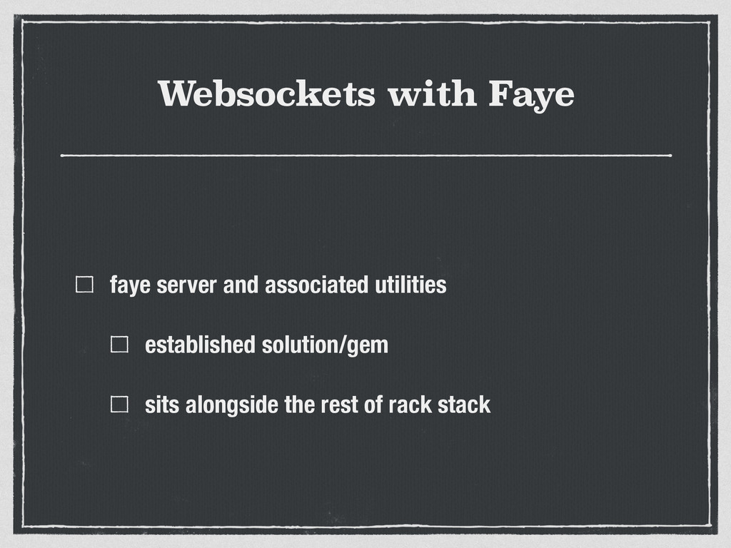 Websockets with Faye faye server and associated...