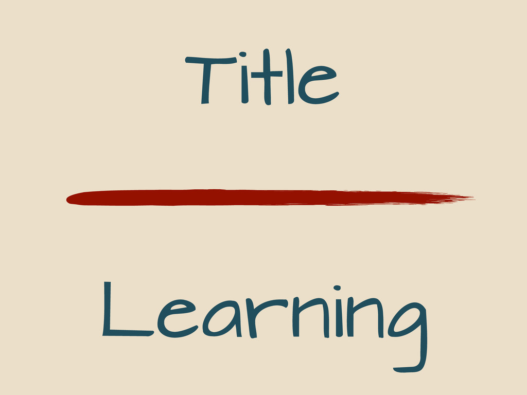 Title Learning