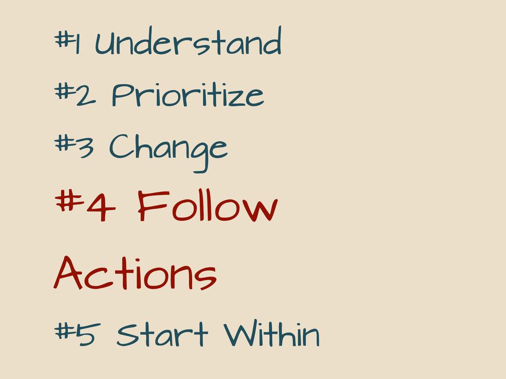#1 Understand #2 Prioritize #3 Change #4 Follow...