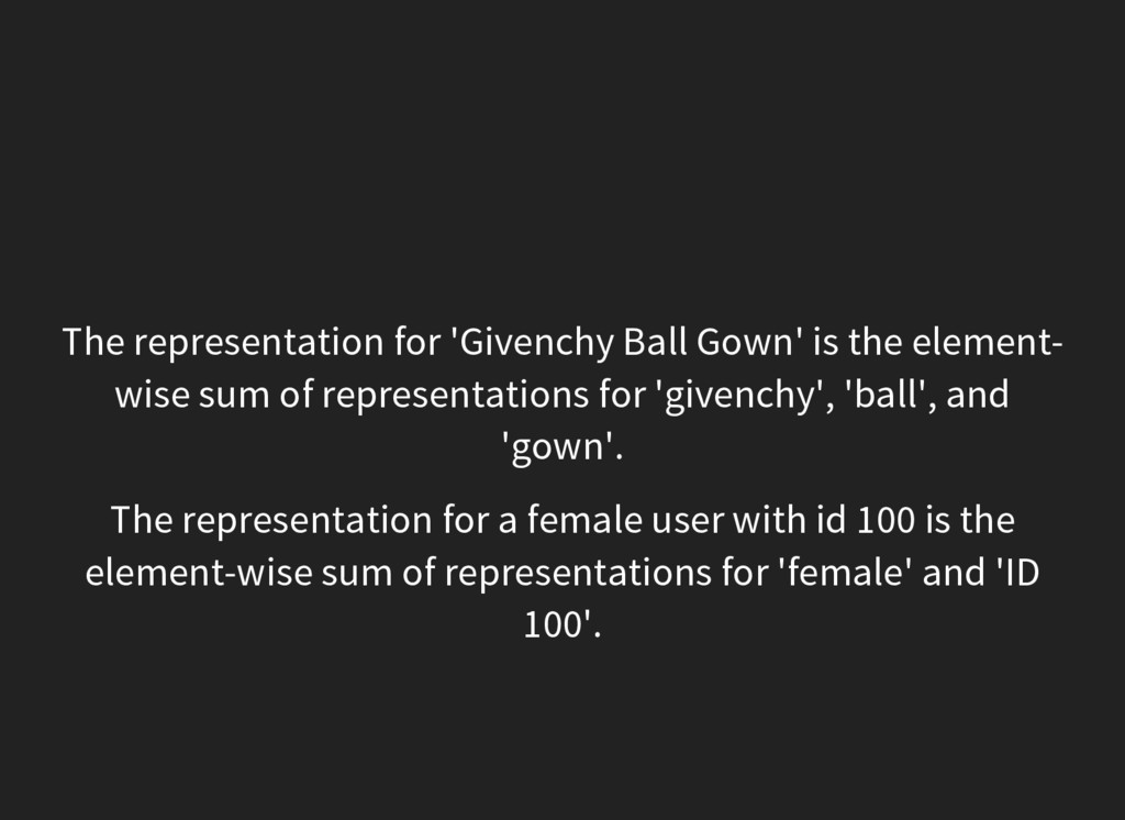 The representation for 'Givenchy Ball Gown' is ...