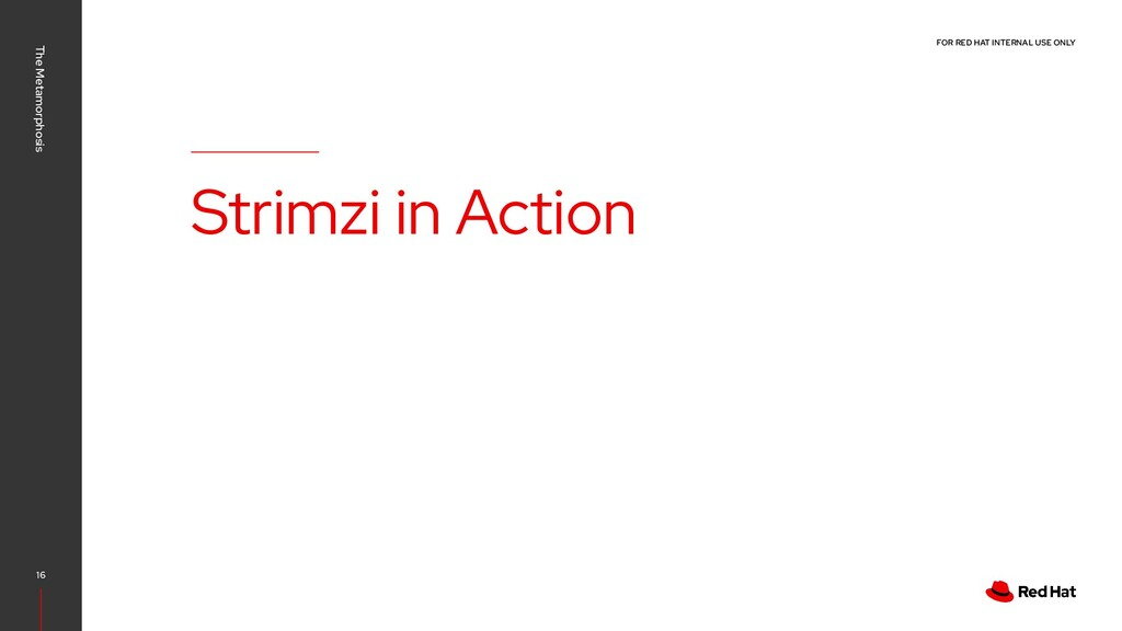 FOR RED HAT INTERNAL USE ONLY Strimzi in Action...