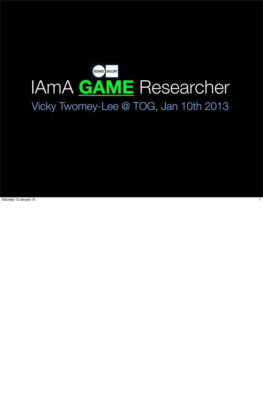 IAmA GAME Researcher Vicky Twomey-Lee @ TOG, Ja...