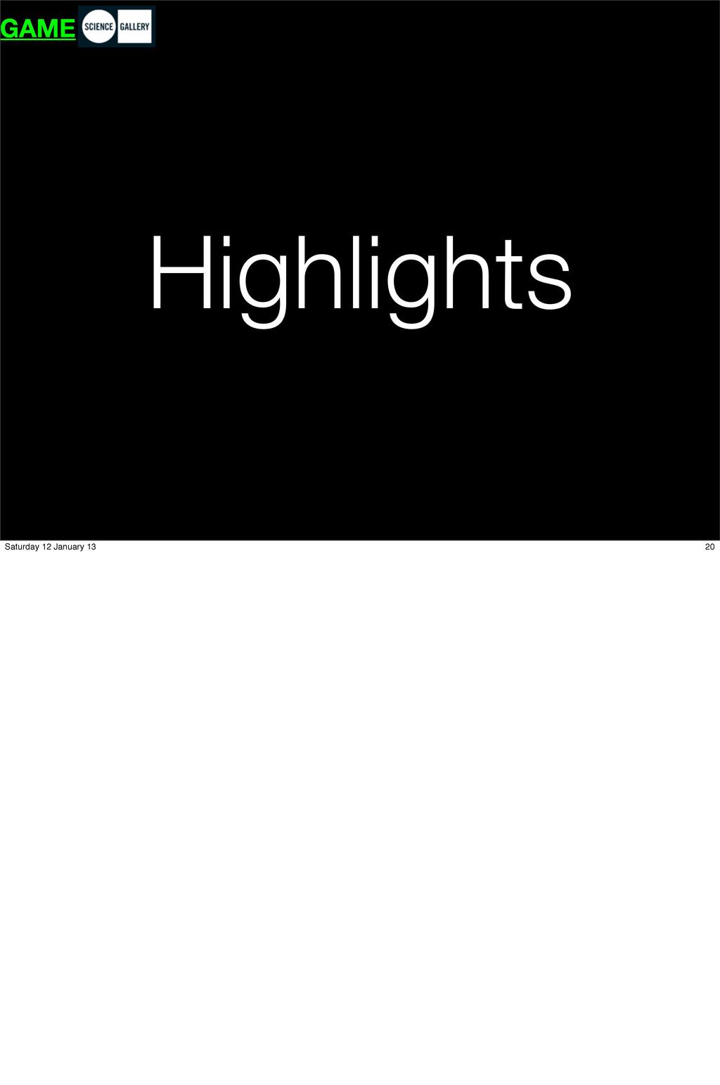 Highlights GAME 20 Saturday 12 January 13
