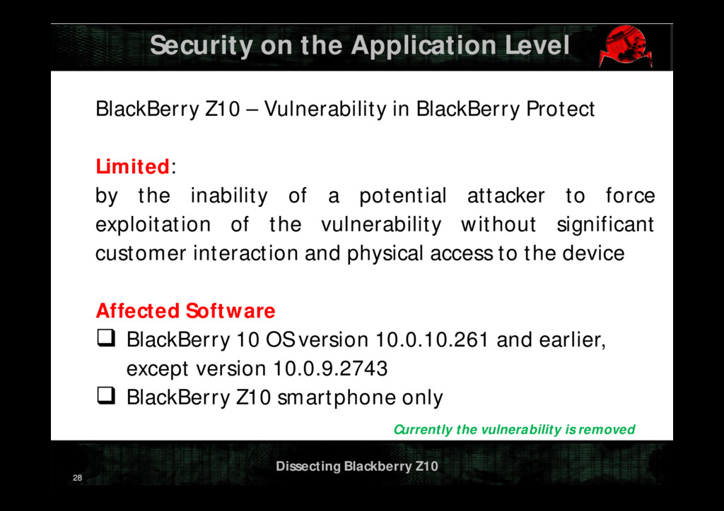 Dissecting Blackberry Z10 Security on the Appli...
