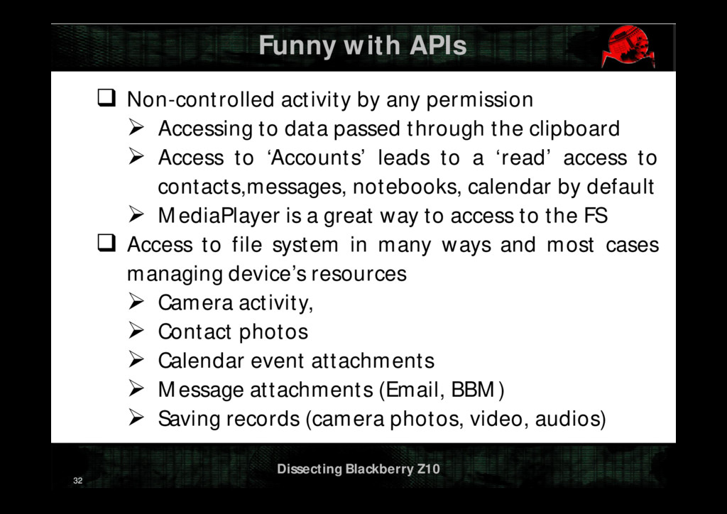 Dissecting Blackberry Z10 Funny with APIs  Non...