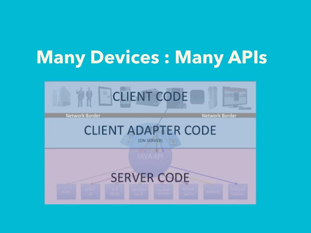 Many Devices : Many APIs