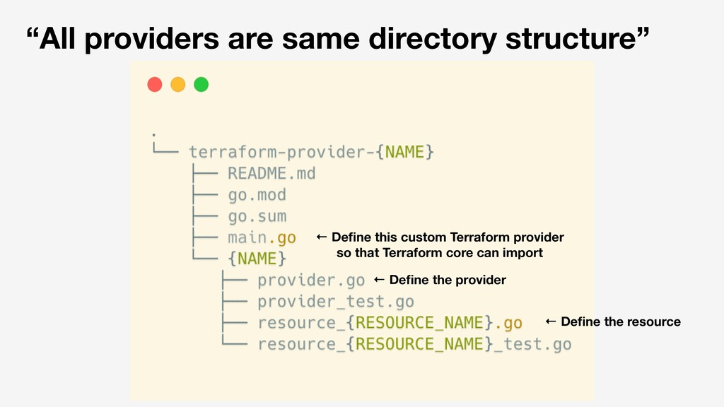 """All providers are same directory structure"" ← ..."