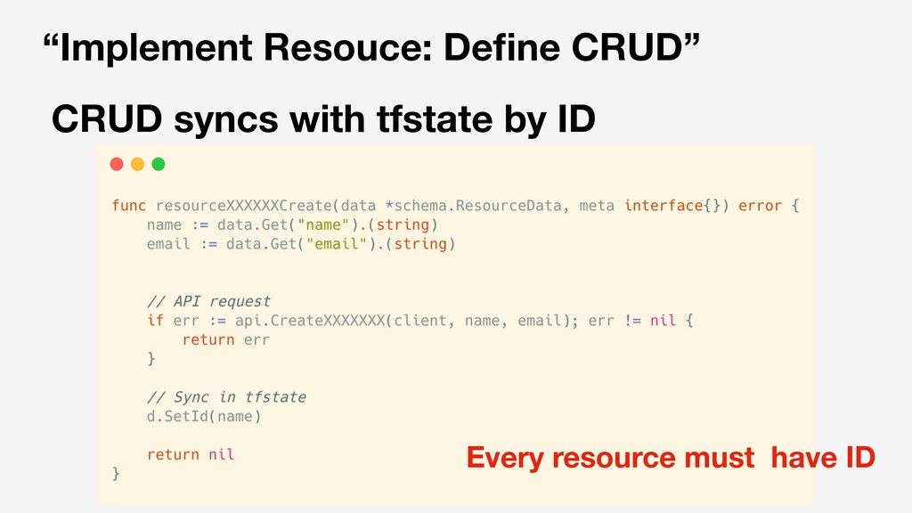 """Implement Resouce: Define CRUD"" CRUD syncs with..."