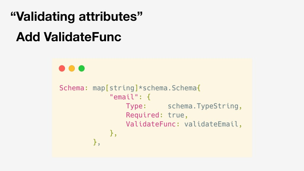 """Validating attributes"" Add ValidateFunc"
