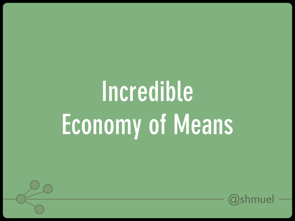 @shmuel Incredible Economy of Means