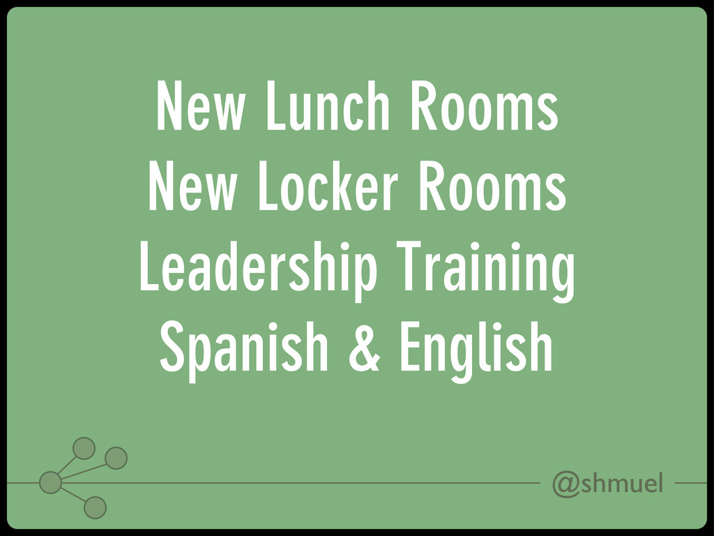 @shmuel New Lunch Rooms New Locker Rooms Leader...