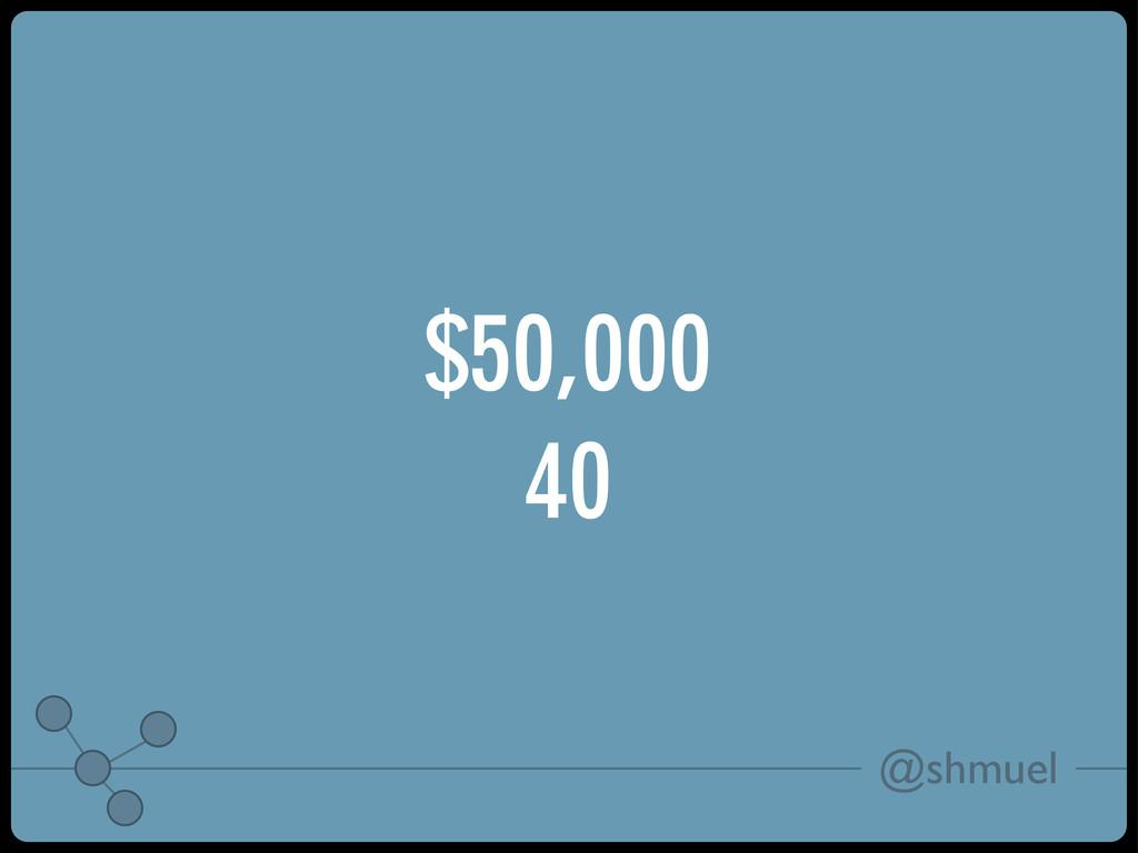 @shmuel $50,000 40