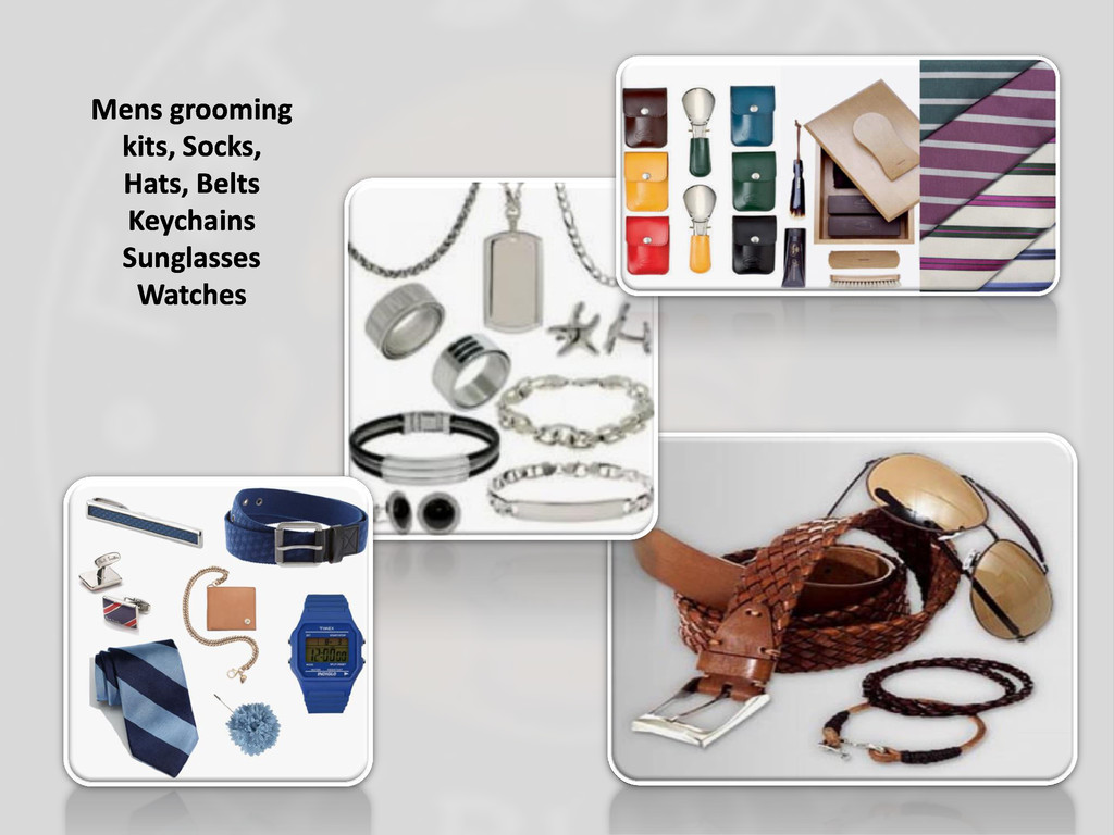 Mens grooming kits, Socks, Hats, Belts Keychain...