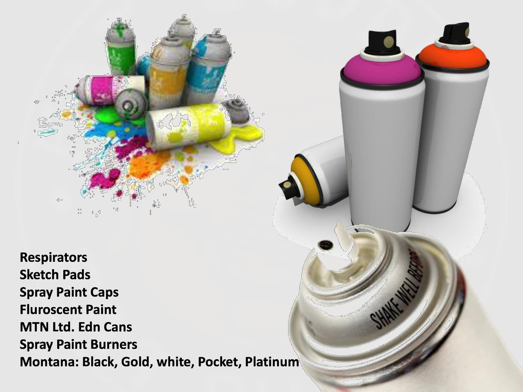 Respirators Sketch Pads Spray Paint Caps Fluros...