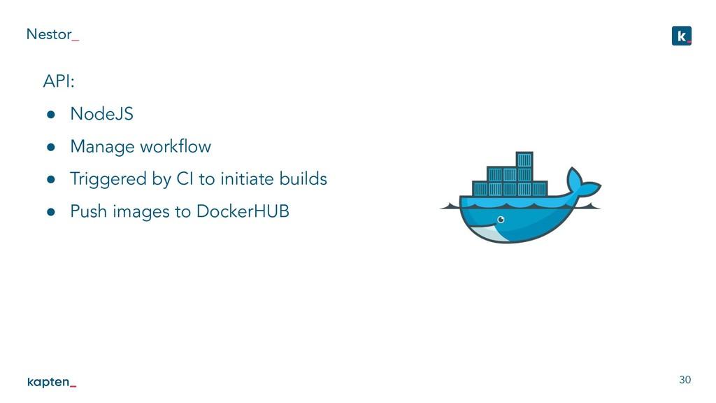 Nestor_ 30 API: ● NodeJS ● Manage workflow ● Tri...