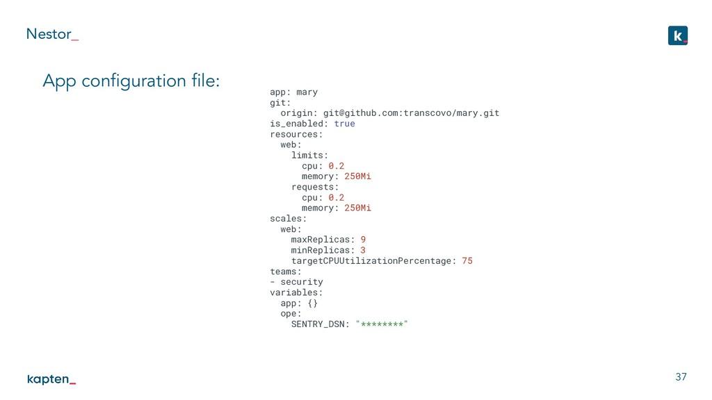 Nestor_ 37 App configuration file: app: mary git:...