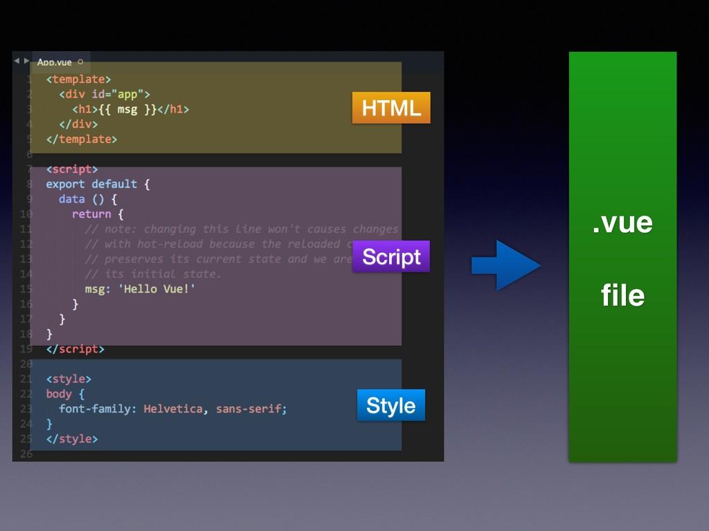 HTML Script Style .vue file