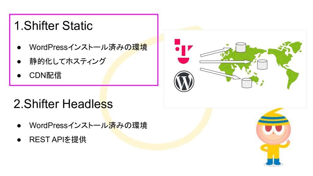 1.Shifter Static ● WordPressインストール済みの環境 ● 静的化して...