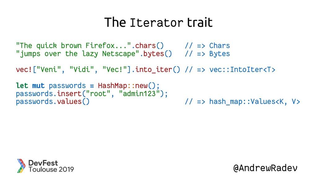 "@AndrewRadev The Iterator trait ""The quick brow..."