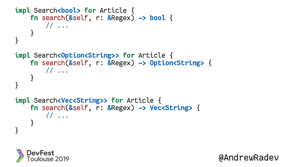 @AndrewRadev impl Search<bool> for Article { fn...