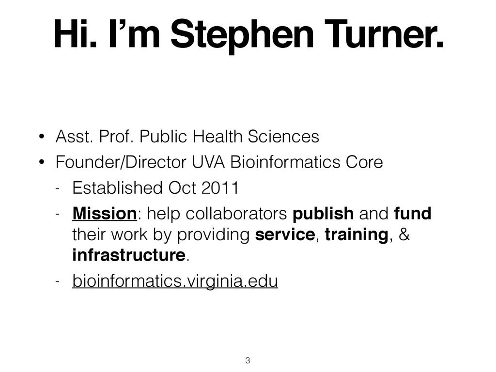 Hi. I'm Stephen Turner. • Asst. Prof. Public He...